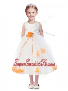 Popular Scoop Girls Pageant Dresses with Orange Red Hand Made Flowers