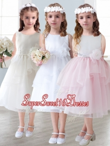 Lovely Scoop Hand Made Flowers and Ruffled Layers Mini Quinceanera Dresses in Tea-length