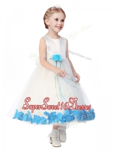 Perfect Scoop Mini Quinceaner Dress with Aqua Blue Hand Made Flowers