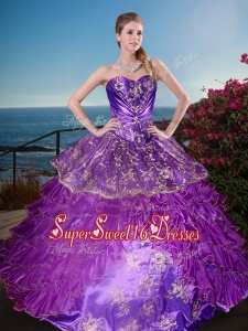 New Arrivals Applique and Ruffled Layers Cheap Sweet Sixteen Dress in Organza and Taffeta