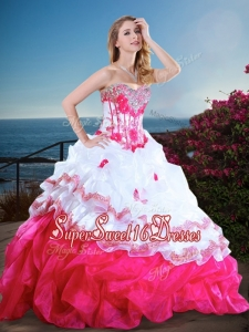 Visible Boning Beaded and Ruffled Cheap Sweet Sixteen Dress in Hot Pink and White