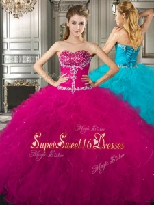 Affordable Beaded and Ruffled Fuchsia Cheap Sweet Sixteen Dress in Tulle
