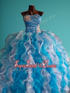 Discount Beaded and Ruffled Big Puffy Quinceanera Dress in White and Blue