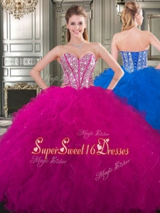 Popular Beaded and Ruffled Big Puffy Cheap Sweet Sixteen Dress in Fuchsia