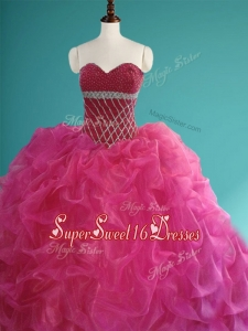 Gorgeous Beaded and Pick Ups Organza In Stock Quinceanera Dresses in Fuchsia