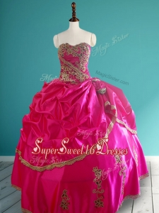 Popular Hot Pink In Stock Quinceanera Dresses with Pick Ups and Appliques