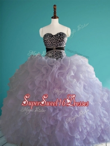 Romantic Leopard Big Puffy In Stock Quinceanera Dresses with Beading and Ruffles