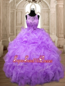 Popular Scoop Big Puffy Quinceanera Dress with Beading and Ruffles