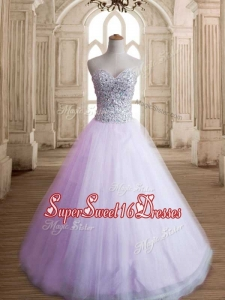 Romantic A Line Lavender Sweet 16 Dress with Beading for Spring