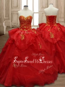 Classical Applique and Ruffled Layers Organza Quinceanera Dress in Red