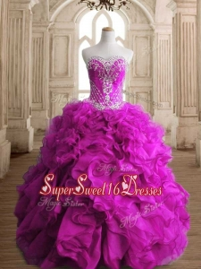 Elegant Fuchsia Organza Quinceanera Gown with Beading and Ruffles