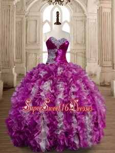Popular Beaded and Ruffled Fuchsia and White Quinceanera Gown