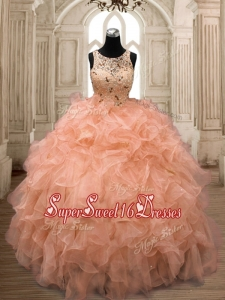 Unique Scoop Orange Sweet 16 Dress with Beading and Ruffles