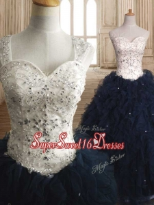 Modest Straps Organza Sweet 16 Dress with Beading and Ruffles