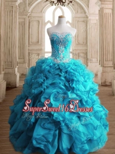 New Arrivals Beaded and Ruffled Quinceanera Dress in Teal