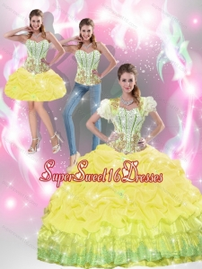 2015 Beautiful Yellow Quinceanera Dresses with Beading and Pick Ups for Summer