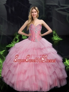 2015 Brand New Ball Gown 15th Birthday Party Dresses with Beading in Baby Pink for Summer