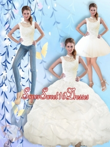 2015 Popular High Neck and Beaded Quinceanera Dresses with Pick Ups for Summer