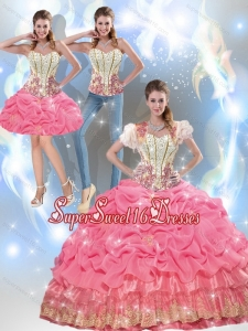 Affordable Beaded Quinceanera Dresses with Appliques and Pick Ups for Summer