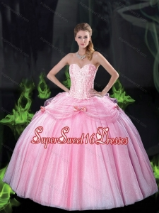 Beautiful Sweetheart Bowknot 15th Birthday Party Dresses with Beading in Pink for Fall
