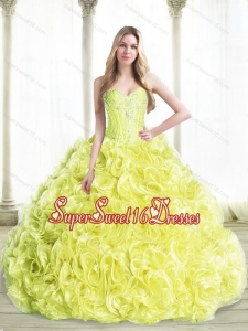 Cheap Beaded Quinceanera Dresses with Rolling Flowers in Yellow for Summer