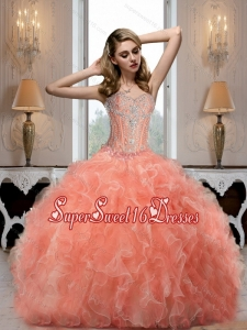 Cheap Sweetheart Watermelon 15th Birthday Party Dresses with Beading for 2015