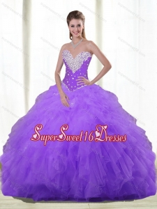 Fashionable Sweetheart 15th Birthday Party Dresses with Beading and Ruffles for Fall