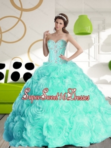 Luxurious 2015 Sweetheart 15th Birthday Party Dresses with Beading and Rolling Flowers for Fall