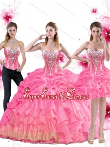 New Arrival Rose Pink 2015 Quinceanera Dress with Beading and Pick Ups for Summer
