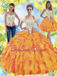 New Style Beaded Sweetheart 2015 Quinceanera Dresses with Ruffles for Summer