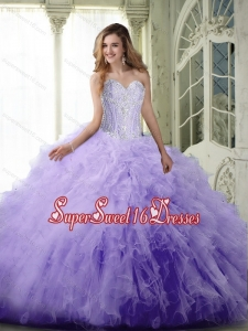 Perfect Ball Gown Sweetheart Lavender 15th Birthday Party Dresses with Beading and Ruffles for Summer