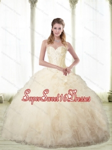 Sturning Champagne Sweetheart 15th Birthday Party Dresses with Beading