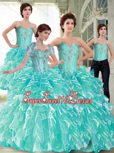 Suitable Ball Gown 2015 15th Birthday Party Dresses with Ruffles and Beading for Summer