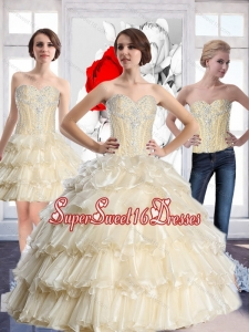 Wonderful Sweetheart Quinceanera Dresses with Beading and Ruffled Layers for Summer