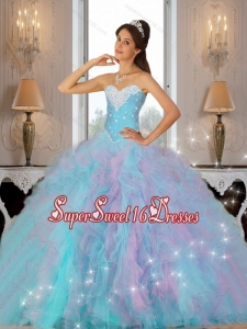 2015 Luxurious Beaded and Ruffles Quinceanera Dresses in Multi Color for Summer