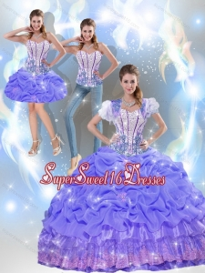 2015 Modest Beaded Quinceanera Dresses with Appliques in Lavender for Summer