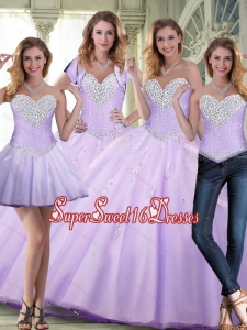 Elegant 2015 Beaded and Appliques Lavender Quinceanera Dresses for Summer