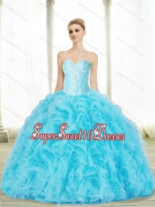 Prefect Baby Blue Sweetheart 2015 Quinceanera Dresses with Beading and Ruffles for Summer