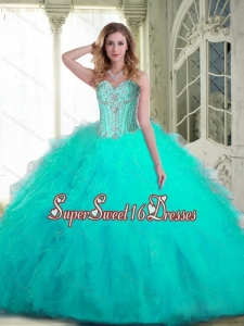 Pretty Sweetheart Aqua Blue 2015 Quinceanera Dresses with Beading and Ruffles for Fall