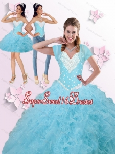 2015 Brand New Beaded and Ruffles Quinceanera Dresses in Blue Sweet 16 Ball Gowns for Summer