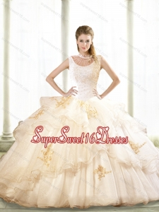 2015 Lovely Beading and Appliques Sweet 16 Ball Gowns in Champagne for Fall