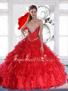 New Arrival 2015 Red Sweet 16 Ball Gowns with Ruffles and Beading for Summer
