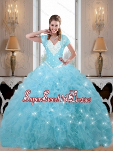 New Style Beaded and Ruffles Sweet 16 Dresses in Baby Blue for Fall