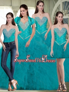New Style Sweet 16 Dresses with Beading and Ruffles in Turquoise for Summer
