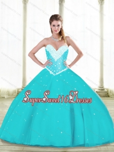 Simple Aqua Blue New Style Sweet 16 Dresses with Beading and Ruffles for Summer