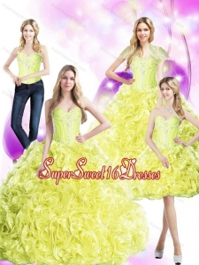 Sweet 16 Ball Gowns 2015 Yellow Quinceanera Dresses with Rolling Flowers and Beading for Summer