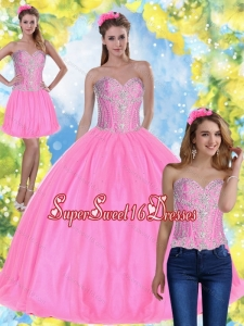 Sweet 16 Ball Gowns Pink 2015 Quinceanera Dresses with Beading for Fall