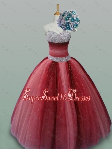 Fashionable Spaghetti Straps Quinceanera Dresses with Beading in Wine Red