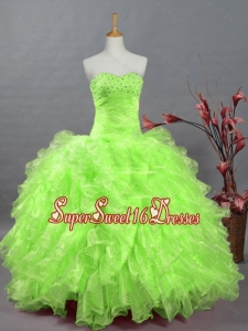 Gorgeous Sweetheart Quinceanera Dresses in Spring Green for 2015
