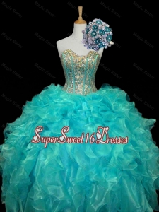 New Arrival Sweetheart Mint Quinceanera Dresses with Sequins and Ruffles